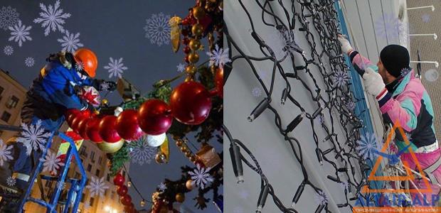 новогоднее украшение фасада дома
